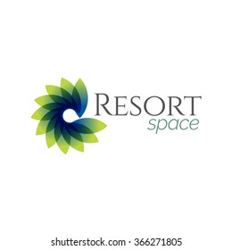 Abstract Blue Green Resort Spa Logo icon, Isolated in White Background