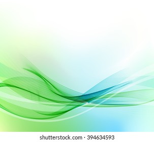 Abstract blue and green wavy lines.  Colorful vector background.
