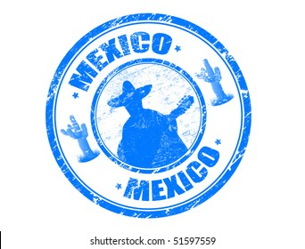 Abstract blue grunge rubber stamp with Mexican mariachi playing with guitar, small saguaros and the name Mexico written inside