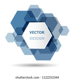 Abstract blue hexagon banner background template, stock vector