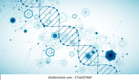 Abstract blue hexagon futuristic background for design works. Science template, wallpaper or banner with a DNA molecules.