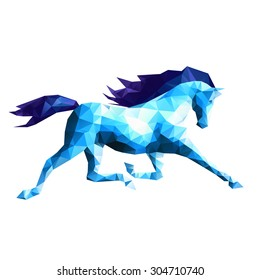 Abstract blue horse on white background, running stallion, vector illustration