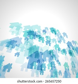 abstract blue house vector background, scattered with perspective