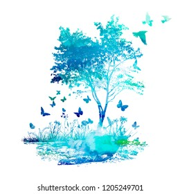Abstract blue landscape butterfly tree. Vector