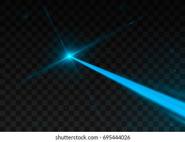 Abstract blue laser beam. Isolated on transparent black background. Vector illustration, eps 10.