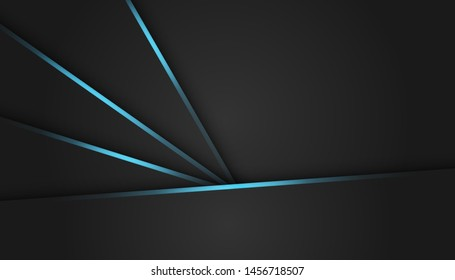 Abstract blue light dark grey metallic overlap background. Luxury bright blue lines modern futuristic background vector illustration.