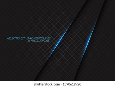 Abstract blue light on dark grey square mesh with text design modern luxury futuristic background vector illustration.