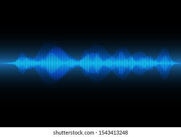 Abstract blue light sound wave on black design modern technology music background vector illustration.