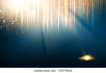 Abstract blue lights background. Abstraction for science presentations. Bigdata array of fallen digits in matrix style. Abstract futuristic background. Vector illustration.