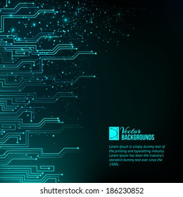 Abstract blue lights background. Vector illustration, contains transparencies, gradients and effects.