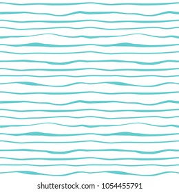 Abstract blue lines waves stripes seamless pattern. Striped minimalistic monochrome background. Ocean, sea water. Vector wavy decorative texture for textile prints, wallpaper, gift wrap, scrapbooking.