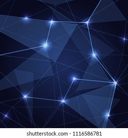 Abstract blue low poly triangle background, stock vector