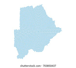 Abstract blue map of Botswana radial dot planet on white background, halftone concept. Vector illustration eps 10.