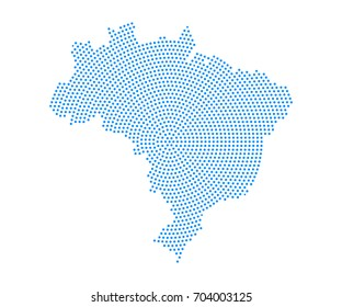 Abstract blue map of Brazil radial dot planet on white background, halftone concept. Vector illustration eps 10.
