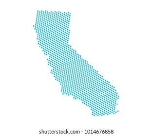 Abstract blue map of California - dots planet, lines, global world map halftone concept. Vector illustration eps 10.