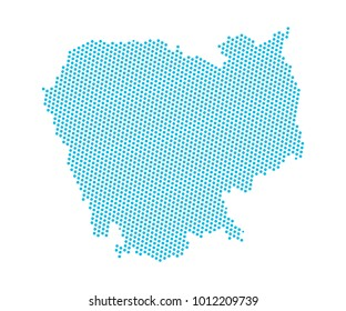 Abstract blue map of Cambodia - dots planet, lines, global world map halftone concept. Vector illustration eps 10.