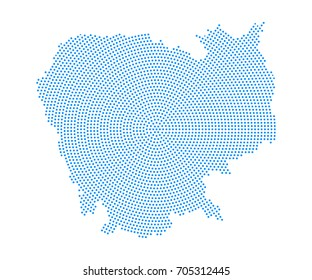 Abstract blue map of Cambodia radial dot planet on white background, halftone concept. Vector illustration eps 10.