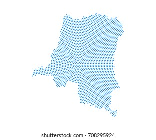 Abstract blue map of Democratic republic of Congo radial dot planet on white background, halftone concept. Vector illustration eps 10.