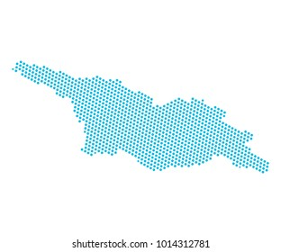 Abstract blue map of Georgia - dots planet, lines, global world map halftone concept. Vector illustration eps 10.