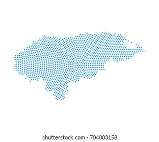 Abstract blue map of Honduras radial dot planet on white background, halftone concept. Vector illustration eps 10.
