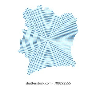 Abstract blue map of Ivory Coast radial dot planet on white background, halftone concept. Vector illustration eps 10.