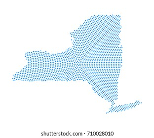 Abstract blue map of New York radial dot planet on white background, halftone concept. Vector illustration eps 10.