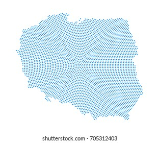 Abstract blue map of Poland radial dot planet on white background, halftone concept. Vector illustration eps 10.