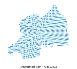 Abstract blue map of Rwanda radial dot planet on white background, halftone concept. Vector illustration eps 10.