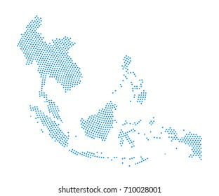 Abstract blue map of Southeast asia radial dot planet on white background, halftone concept. Vector illustration eps 10.