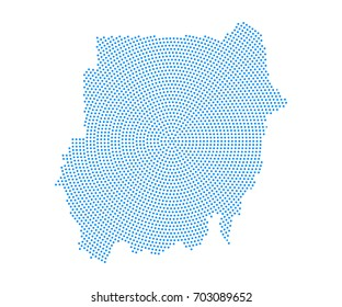 Abstract blue map of Sudan radial dot planet on white background, halftone concept. Vector illustration eps 10.