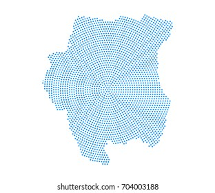 Abstract blue map of Suriname radial dot planet on white background, halftone concept. Vector illustration eps 10.