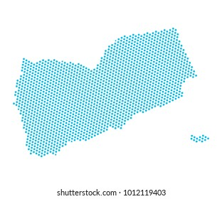 Abstract blue map of Yemen - dots planet, lines, global world map halftone concept. Vector illustration eps 10.