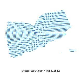 Abstract blue map of Yemen radial dot planet on white background, halftone concept. Vector illustration eps 10.