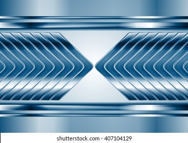 Abstract blue metal tech arrows background. Vector chrome technology design