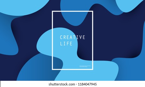 Abstract Blue Minimal Geometric Background Design, Gradient Shapes - Vector Illustration