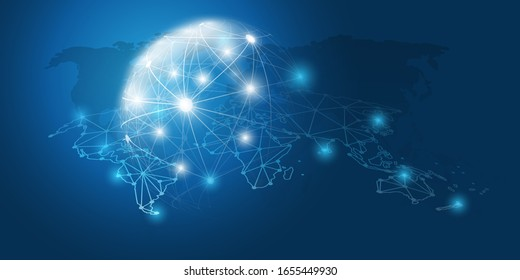 Abstract Blue Minimal Style Cloud Computing, Networks Structure, Telecommunications Concept Design, Network Connections, Transparent Geometric Mesh - Vector Illustration
