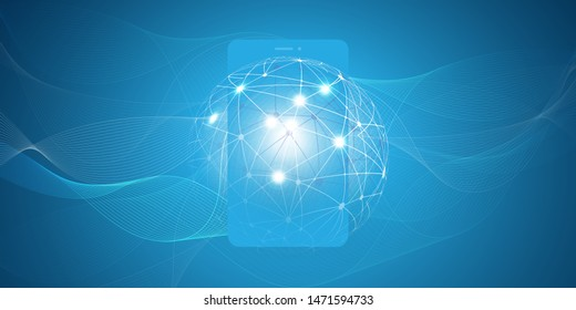 Abstract Blue Modern Minimal Style Cloud Computing, Networks Structure, Telecommunications Concept Design, Network Connections, Transparent Wavy Geometric Mesh with Smartphone - Vector Illustration