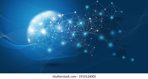 Abstract Blue Modern Style Cloud Computing, 3D Networks Structure, Telecommunications Concept Design - Network Connections, Transparent Wavy Geometric Mesh, Vector Illustration