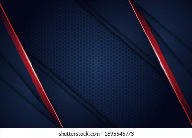 Abstract blue navy red light overlap background with hexagon mesh pattern modern futuristic tehnology vector illustartion