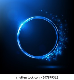Abstract blue neon ring. Light effect. The whirlwind of shiny particles. Flashes of light on the Emerald Circle. Empty space for text.Vector object.