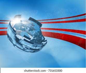 Abstract blue news vector with 3d globe map and technology shape bent around background. EPS10