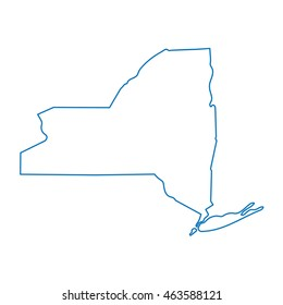 abstract blue outline of New York map