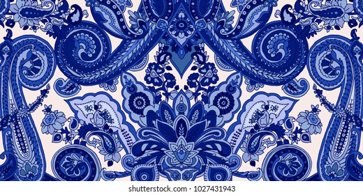 Abstract blue paisley pattern. Traditional oriental ornament. Cobalt hues on ecru background. Textile design.