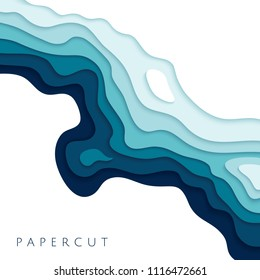 Abstract blue paper cut vector realistic relief. Background template for banners, flyers, presentations.