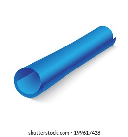 abstract blue paper roll on white