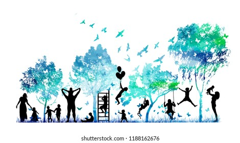 Abstract blue park with trees and people silhouettes. Childhood