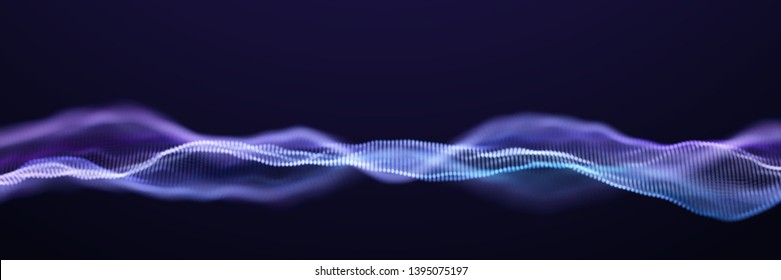 Abstract Blue Particle Waves Surface on Black Background. Abstract Technology or Science Banner. Cyber Space Background. Particles with DOF Effect. EPS10 Vector Illustration.