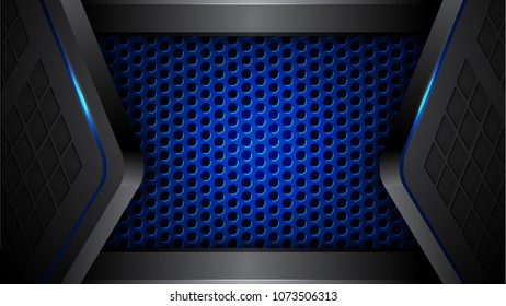 Abstract blue Perforated/ black modern futuristic background vector illustration.