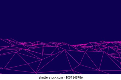 Abstract blue and pink futuristic 3D map. 3D space landscape background. Vector grid. The style of the 80-s.