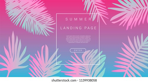 Abstract blue and pink holographic background for landing page with palm leaves. Pastel, bold colors, vaporwave/ synthwave style, 80s-90s aesthetic.